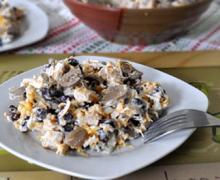 салат с курицей и фасолью и грибами