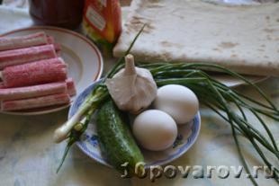 рецепт рулета из лаваша с крабовыми палочками пошаговый