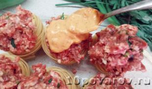 рецепт гнезда из макарон с фаршем