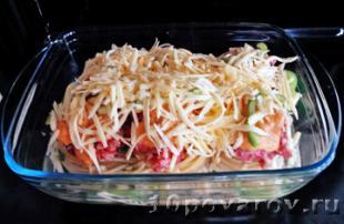 макароны гнезда с фаршем в духовке рецепт