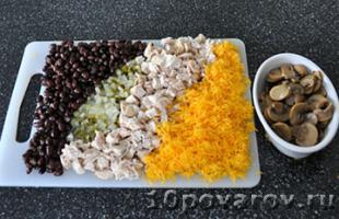 рецепт салата с фасолью грибами и курицей