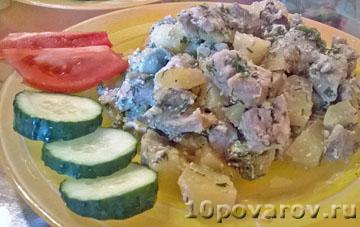 Запеканка с мясом, картошкой и грибами
