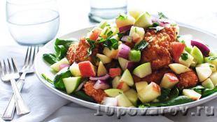 Салат с яблоками и куриным филе