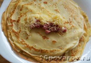 блинчики с ветчиной и сыром фото рецепт