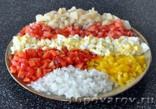 салат со свининой овощами