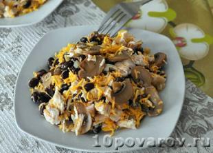 салат с курицей фасолью грибами и сыром
