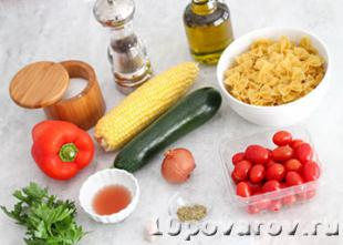 вегетарианский салат с макаронами