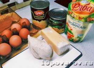салат курица ананасы кукуруза сыр