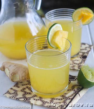 Детокс-коктейль из ананаса и имбиря