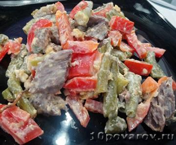 Салат со стручковой фасолью и говядиной