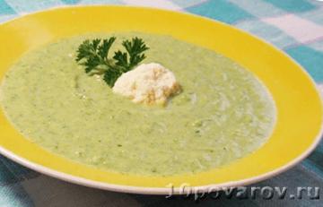 Суп-пюре из брокколи со сливками и цветной капустой