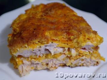 Тыквенный пирог с куриной грудкой в мультиварке